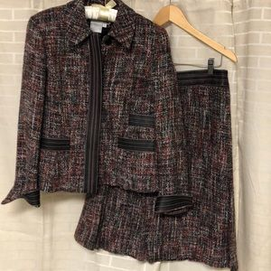 Worth tweed suit with leather accents